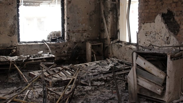 The charred remains of the Doctors Without Borders hospital in Kunduz is seen in this Oct. 16 photo after it was hit by a U.S. airstrike.
