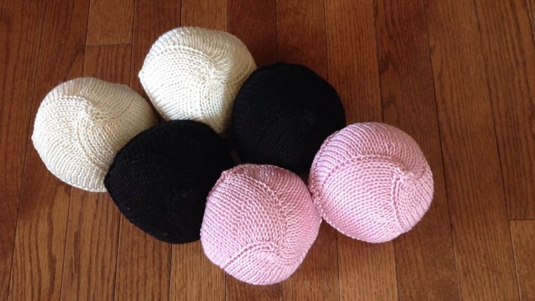 Knitted Knockers Canada makes foam hand knit breast prosthetics for women  who have undergone a mastectomy. (Submitted by Nancy Thomson)