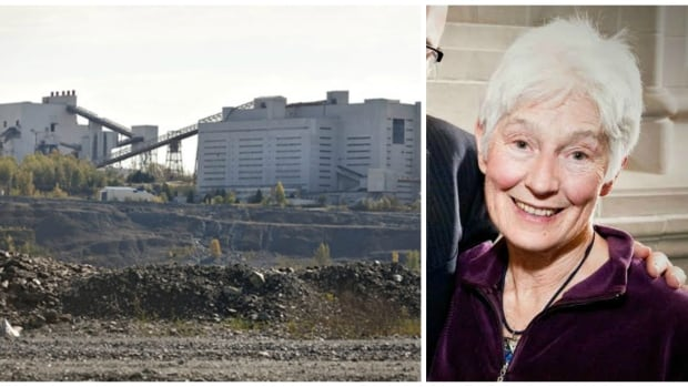 The Rideau Institute's Kathleen Ruff, right, is one of a group of experts who's calling on Concordia University to retract a controversial study about the Jeffrey asbestos mine in Quebec. The picture on the left shows the mine in 2011.