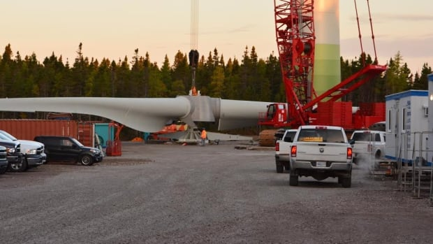 The blades of a wind turbines wait to be installed to generate power for Cape Breton University.