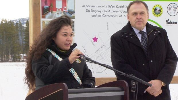 Ta'an Kwäch'än chief Kristina Kane and Yukon Premier Darrell Pasloski announced plans for the development in Whistle Bend on Thursday morning.
