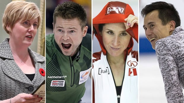 From left to right, Carla Qualtrough, Mike McEwen, Ivanie Blondin, and Patrick Chan will all be a part of this weekend's edition of Road to the Olympic Games on CBC.