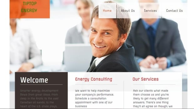A screen grab of the home page for TipTop Energy which claims falsely to have an office in Grande Prairie, Alta.