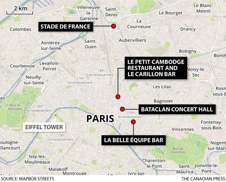 Bataclan Concert Hall Paris Map.Paris Attacks At Least 120 Killed 8 Attackers Dead Cbc News