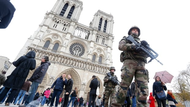 French military patrol near Notre Dame Cathedral in Paris after a series of deadly attacks in November 2015 left authorities scrambling to react.