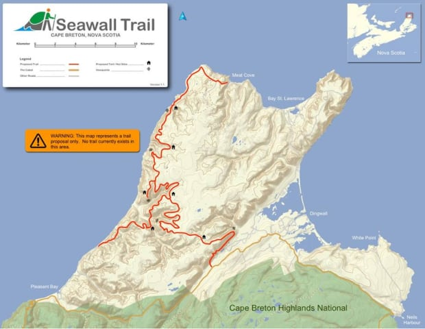 Future Seawall Trail for off the Cabot Trail hiking