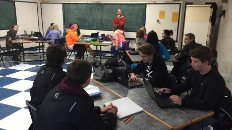 English class at Pilot Mound Collegiate Institute