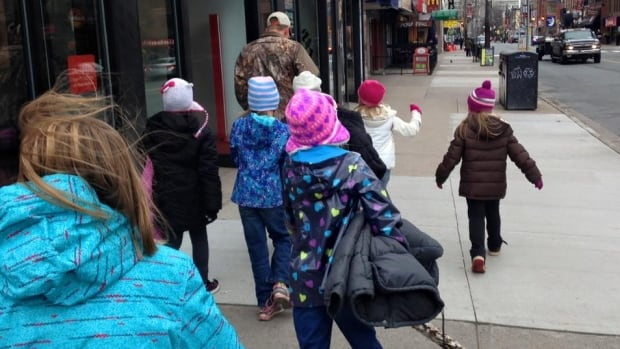 The children were busy working their magic along Spring Garden Road in Halifax.