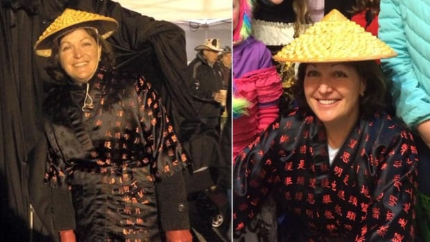 Newly elected Liberal MP Linda Lapointe deleted these photos of her Halloween costume from a Facebook page, apologizing to anyone who found the outfit offensive.