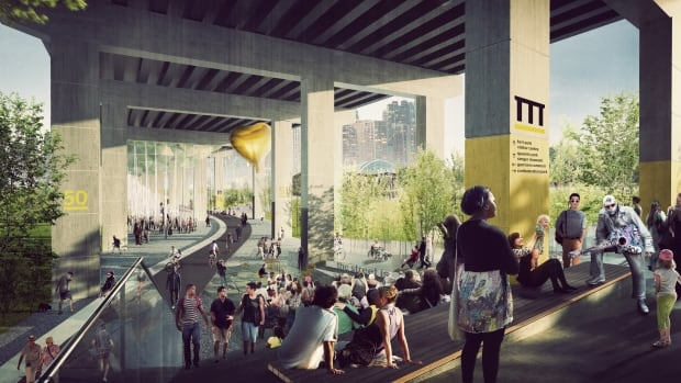 Summertime in the proposed $25-million Under Gardiner park, as imagined by an artist.