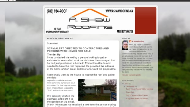 Edmonton contractor Al Shaw is warning other tradespeople to watch out for fraudsters posing as potential customers.