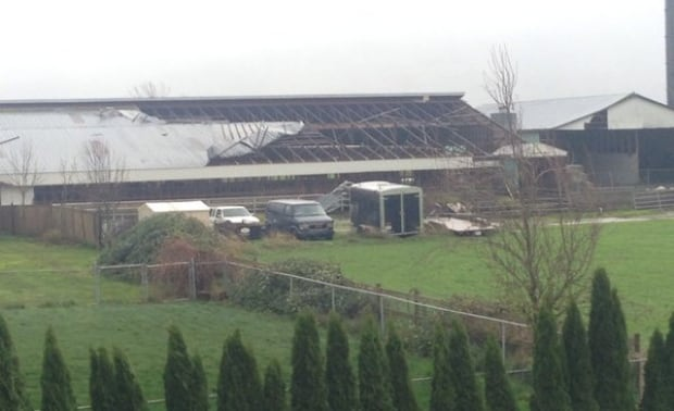 barn roof blown off by wind Chilliwack