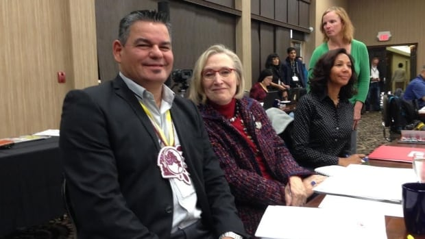 Carolyn Bennett (right) attended a First Nations education meeting in Thunder Bay on Nov. 17. The invitation was extended by Ontario Regional Chief Isadore Day (left) on the day she was sworn in to office.