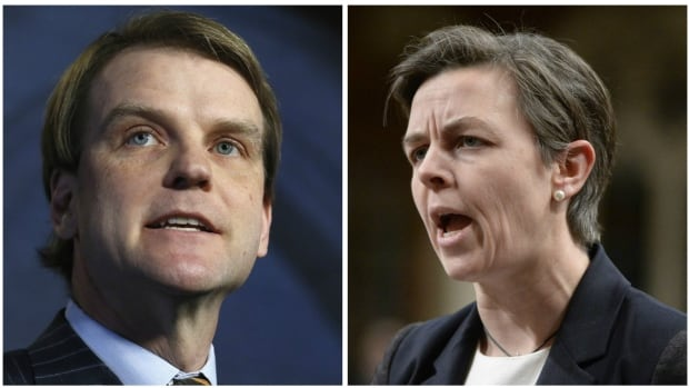 Chris Alexander, left, and Kellie Leitch, right, announced the Conservative Party's plans to create a barbaric cultural practices tipline during the past election campaign. CBC News has learned that the RCMP was never consulted on the proposed service.
