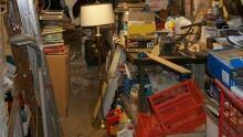 A cluttered basement