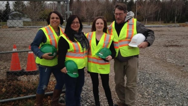 L to R, Noreen MacKinnon,  project facilitator for Women Unlimited, training participants Monica Googoo and Wendy Anderson, and Lloyd Delorey, general foreman with Abengoa.