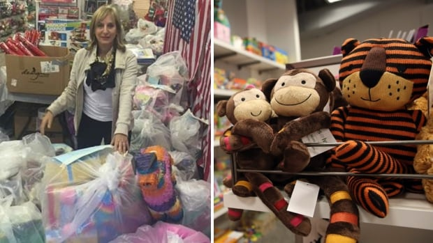 On the left, philanthropist Carol Suchman shows off the toys available for donation, which are estimated to be in the thousands. On the right, a Macy's Backstage store in the Queens borough of New York City.