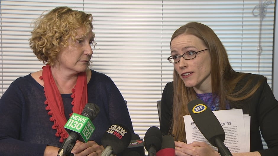 UBC VP of Equity and Inclusion, Sara-Jane Finlay, listens to former student Glynnis Kirchmeier, right, at a press conference on Nov. 22 where Kirchmeier announced she will file a complaint with the BC Human Rights Tribunal over the school's treatment of people reporting sexual misconduct.