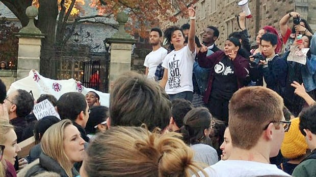 Yale University students and supporters demonstrate earlier this month against what they see as racial insensitivity at the Ivy League school.