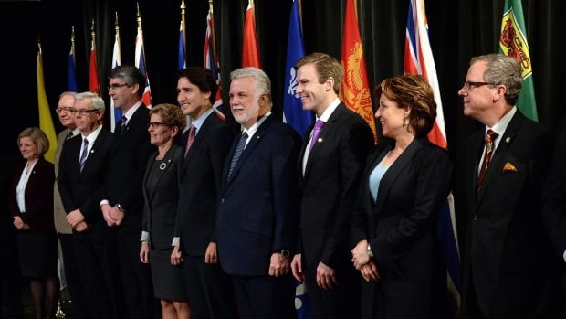 Prime Minister Justin Trudeau and the premiers take part in the family photo during a first ministers' meeting in Ottawa in November 2015.