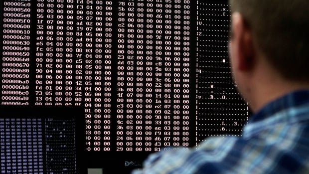 An analyst looks at code in the malware lab of a cybersecurity lab. Some of Canada's industry leaders are creating a new network to help businesses and the public stay abreast of emerging cyber threats.