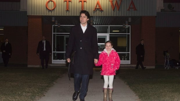 Prime Minister Justin Trudeau walks with his daughter Ella-Grace to his plane Tuesday evening, as he departs for a week-long trip to London, Malta and Paris.