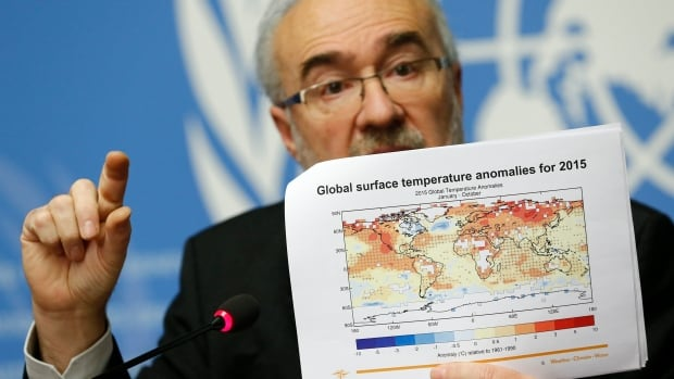Michel Jarraud, Secretary-General of the World Meteorological Organization (WMO) holds a graphic during the presentation of the five-year report on the climate from 2011-2015 at the United Nations European headquarters in Geneva, Switzerland November 25, 2015. This year is set to be the hottest on record.
