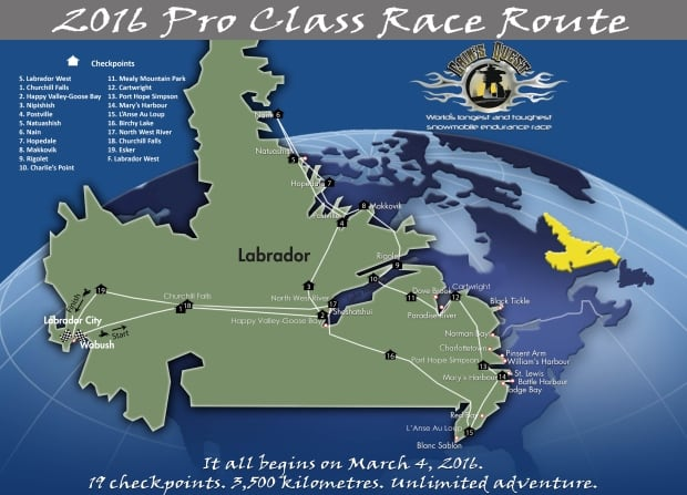 Cain's Quest 2016 Race Route