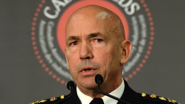 RCMP Commissioner Bob Paulson, seen here at a security conference put on by the Canadian Association of Defence and Security Industries in Ottawa on Wednesday, says he advocates an administrative scheme that would give police ready access to a customer's name and address while respecting the Charter of Rights and Freedoms.