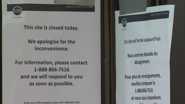 This notice was posted at the VON site in Fredericton today as the charity announced it was discontinuing service in six provinces, including New Brunswick.