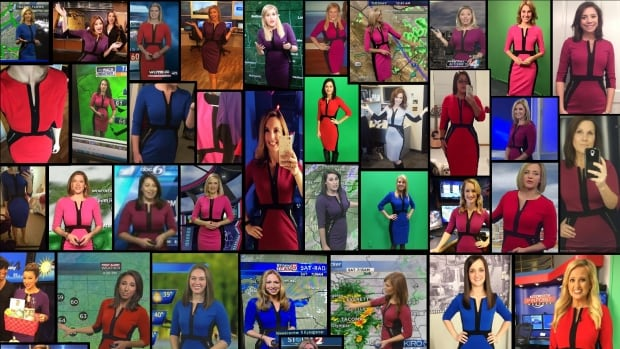 More than 50 different broadcast meteorologists purchased the same dress in various colours (excluding green, of course) after a link to it was shared in a private Facebook group for female weather presenters.