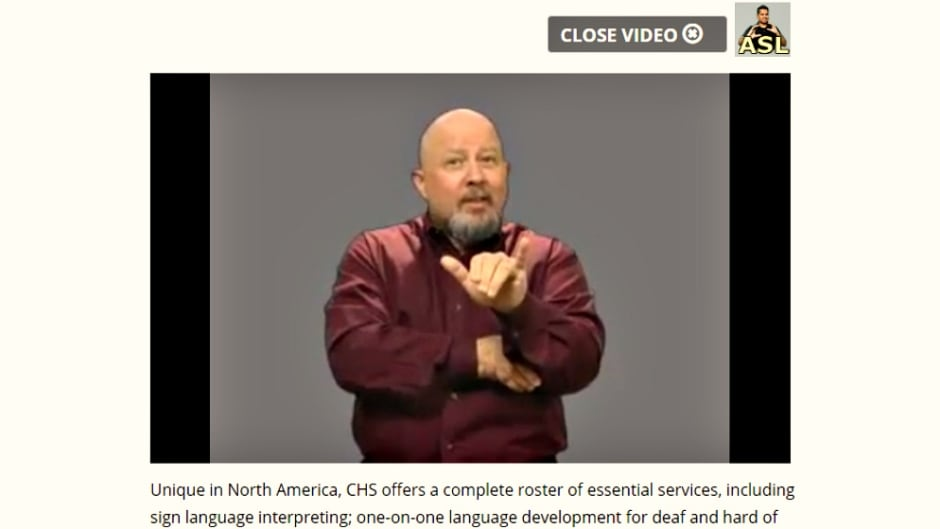 An example of the content of a webpage translated into ASL through video from the Canadian Hearing Society.