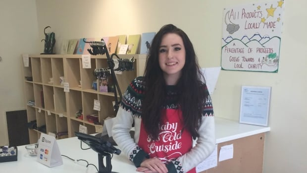 Sure beats being in class all day. Grade 11 student Brianna Faith is running a Christmas shop in a donated storefront in downtown Victoria.