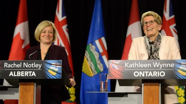 Alberta Premier Rachel Notley, left, and Ontario Premier Kathleen Wynne are expected to discuss 'issues of common interest.'