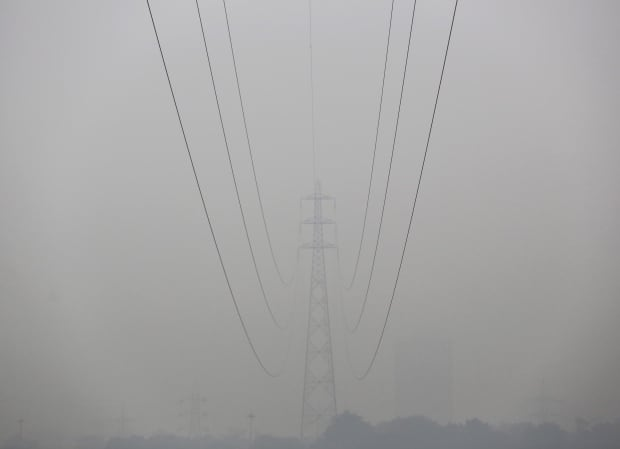New Delhi Nov 30 2015 bad air high tension wires low visibility