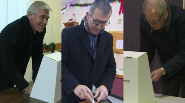 Dwight Ball, Paul Davis and Earle McCurdy cast ballots in Newfoundland and Labrador election