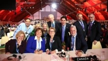Justin Trudeau and other Canadian politicians at COP21