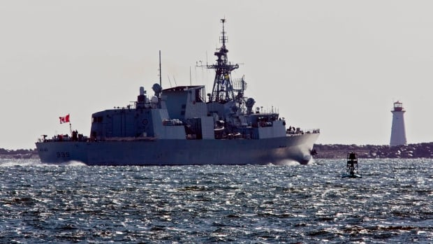 HMCS Charlottetown heads out the harbour as the Halifax-class frigate is deployed to Libya, in Halifax in 2011. The government has a program to replace its frigates, but costs are rising.
