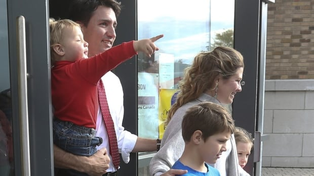 Justin Trudeau leaves a Montreal polling station with his wife Sophie and three children after voting on election day Oct. 19.
