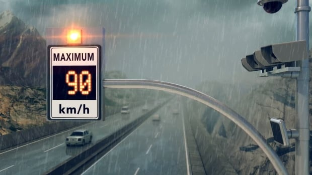 B.C.'s Ministry of Transportation released this image of a variable speed sign and sensors.
