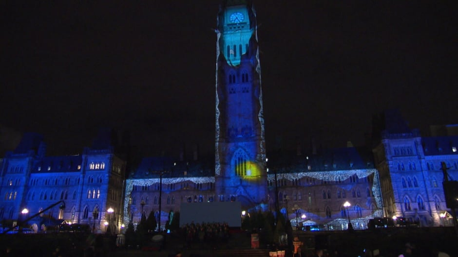 Parliament Hill is lit up with holiday-themed lights on Dec. 2, 2015.