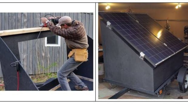 This demonstration system has 530 W of solar photovoltaic panels, batteries, a charge controller, and an inverter to produce AC power. You can borrow it from the group, free of charge.
