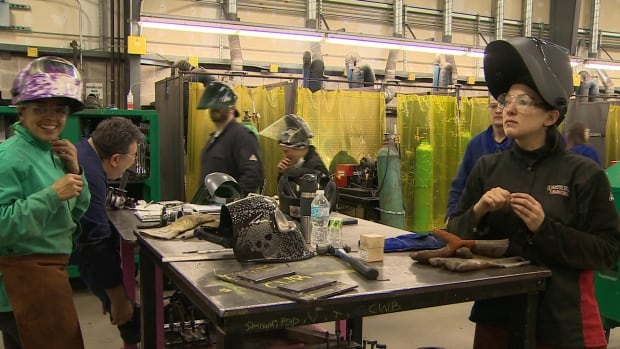 18 women are studying at NSCC and working with Irving Shipbuilding as part of program to encourage more women to get into trades.