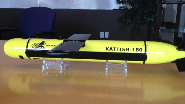This is a model of the Kraken Katfish, an underwater towing device which carries underwater sonar imaging technology.