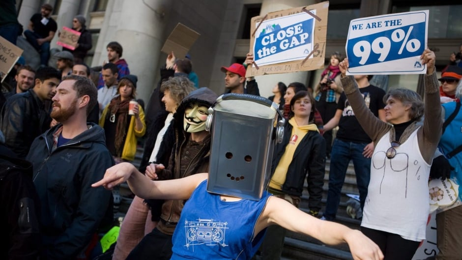 Protestors dance outside the Vancouver Art Gallery during the Occupy Vancouver group assembly in Vancouver.