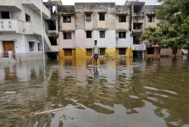 INDIA-FLOODs Dec 5 2015 paddle board Chennai floodwaters