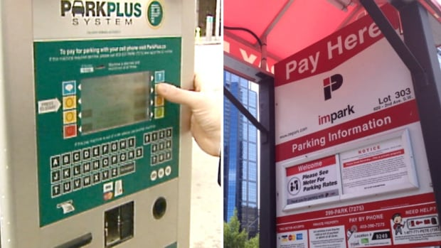 The Calgary Parking Authority previously adjusted its on-street rates based on demand, using data from the ParkPlus system (pictured at left). For its parkades and surface lots, the CPA adjusted its rates based on the prices of private competitors like Impark (pictured at right). But the CPA now says its rates will not increase at all in 2016, though they could fall.