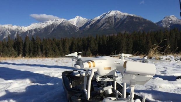 An Automated Aeronautics drone prepares for a flight in Banff, something owner Mitch Drzymala says is more difficult than flying a plane in a national park.