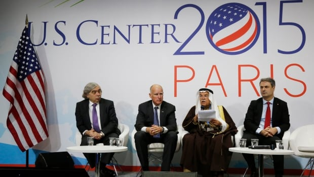 U.S. Energy Secretary Ernest Moniz (from left), California Governor Edmund Brown, Saudi Arabia's Oil Minister Ali al-Naimi and Sweden's Minister for Energy Ibrahim Baylan attend a meeting at the U.S. Center during the World Climate Change Conference 2015. Saudi Arabia and some of its allies are actively blocking efforts aimed at finding common ground at the conference.