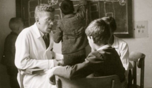 Hans Asperger and children at the University of Vienna, 1930s